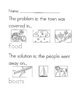 Cloudy with a Chance of Meatballs problem/solution worksheet