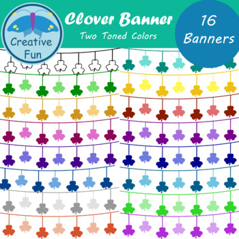 Clover Banner Clipart: Two Toned