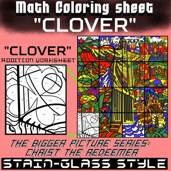 Math Colouring Worksheet (Addition) -Clover