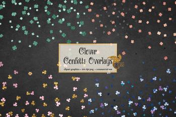 Clover Confetti Overlays Clipart, shamrock clip art, St Patricks Day graphics