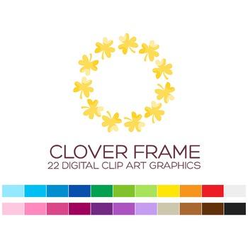 Clover Frame Clipart - 22 digital laurels frames / 4x4 inc