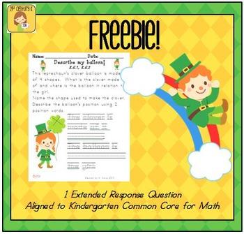 Clover Kindergarten Math Extended Response FREEBIE