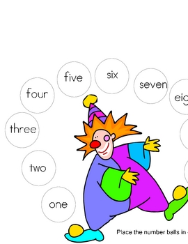 Clowing Around with Numbers Number  Sequencing Learning Game