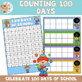 Clown 100 Days of School Countdown With Tens Frames