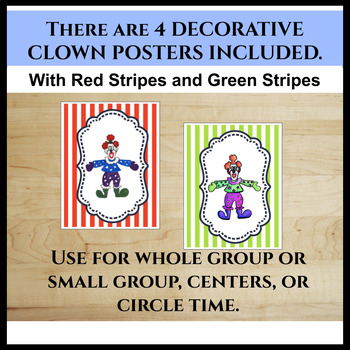 Clown Alphabet Posters With Circus Stripes (Uppercase and Lowercase Letters)