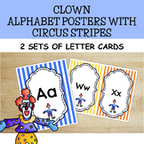 Clown Alphabet Posters With Circus Stripes (Uppercase and