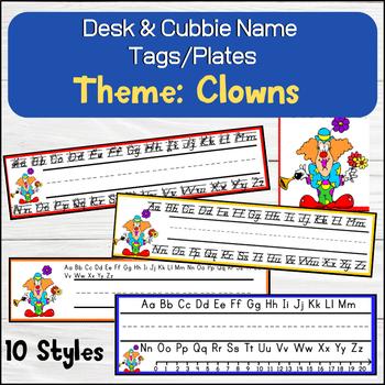Clown - Circus Themed Desk / Name / Cubbie Tags
