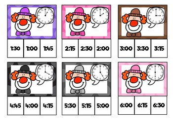 Clown Clocks Clip Cards: 15 Min Intervals