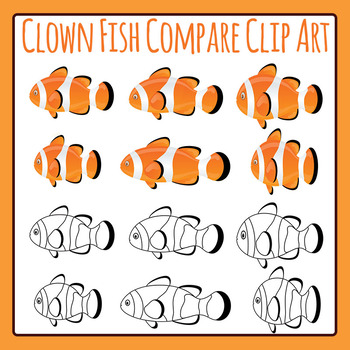 Clown Fish Compare / Measure / Odd One Out Clip Art for Commercial Use