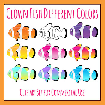 Clown Fish Different Colors Clip Art for Commercial Use