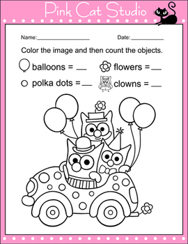 Circus Clown Owl Number Sense Worksheets - Counting to 10