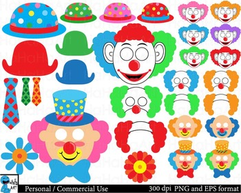 Clown Props Digital Clip Art Graphics Personal Commercial Use 126 images cod166