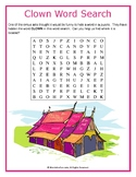 Clown Word Search Puzzle (Easy)