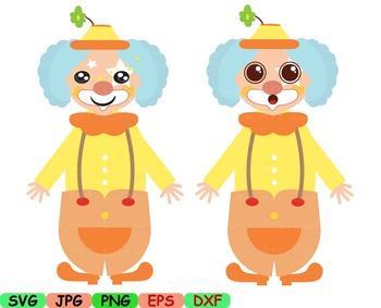 Clown circus Kawaii chibi Faces Japan clipart svg happy kid smile props toy 11sv
