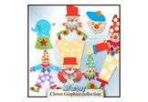 Clown graphic clipart set with digital papers