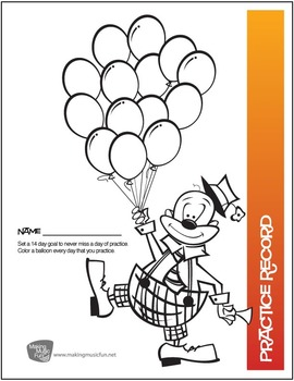 Clown with Balloons Practice Chart | Free Digital Print