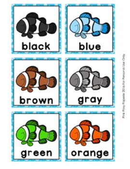 Clownfish Color Clip Cards and Memory Game