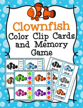 Clownfish Color Match Clip Cards and Memory Game