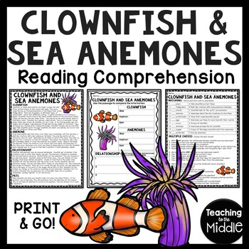Clownfish and Sea Anemones Reading Comprehension; Ocean Creatures; Clown Fish