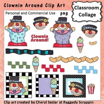 Clownin Around - Color - pers & comm use clown ice cream p