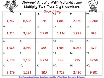 Clownin' Around With Multiplication {Task Cards} 2-Digits