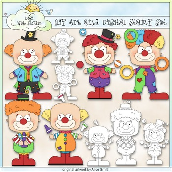 Clowning Around 1 - Commercial Use Clip Art & Black & White Images