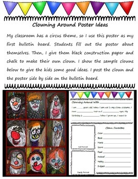 Clowning Around Back to School Clown Poster Activity