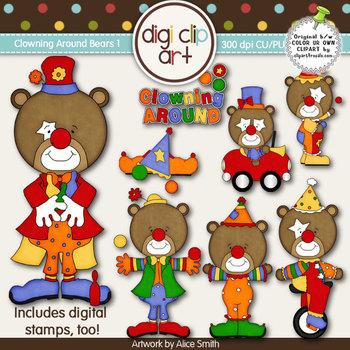 Clowning Around Bears 1 -  Digi Clip Art/Digital Stamps -