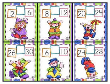 Clowning Around Count by 2s Math Center