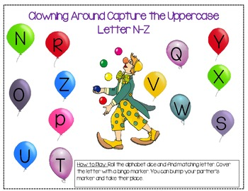 Clowning Around Letter Identification Dice Game