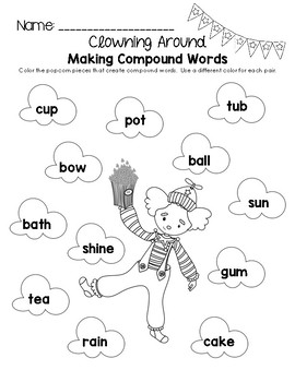 Clowning Around Making Compound Words Worksheet
