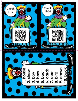 Clowning Around Vowel Teams Literacy Center (QR Codes or Answer Keys)