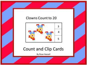 Task Cards Count and Clip Cards Counting Clowns 1-20 P-K,