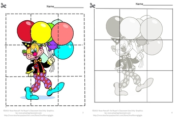 Clown Cut and Paste Printable Puzzles for Centers or Stations Craftivity