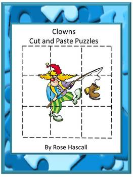 Clown Cut and Paste Printable Puzzles for Centers or Stati