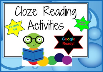 Google Cloze Digital Interactive Notebook Reading Passages grades 4-6