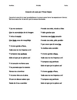 "Cloze Activity - Adjectives - Adjetivos - ""Corazón sin cara"" Prince Royce"