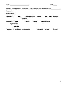 High School Biology Cloze Worksheet - Blood Pressure and the Heart