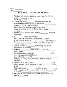 Cloze Outline for 'The Story of the Alamo'