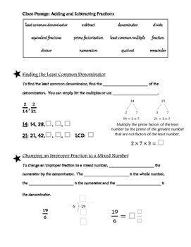 Cloze Passage: Adding and Subtracting Fractions