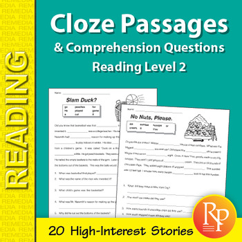 Cloze Passages & Comprehension Questions for Reading Level 2