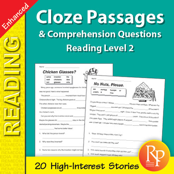 Cloze Passages & Comprehension Questions for Reading Level 2 - Enhanced