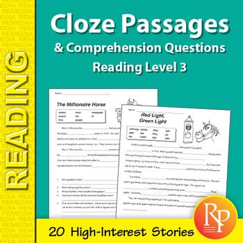 Cloze Passages & Comprehension Questions for Reading Level 3
