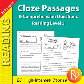 Cloze Passages & Comprehension Questions for Reading Level 3 - Enhanced