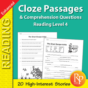 Cloze Passages & Comprehension Questions for Reading Level 4 - Enhanced