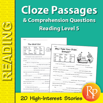Cloze Passages & Comprehension Questions for Reading Level 5