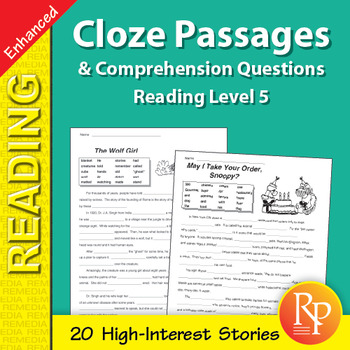 Cloze Passages & Comprehension Questions for Reading Level 5 - Enhanced