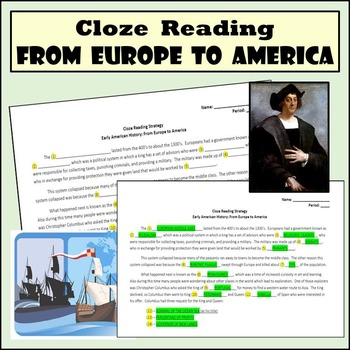 Cloze Reading Strategy: Europe to America - Feudalism, Columbus, & Slave Trade