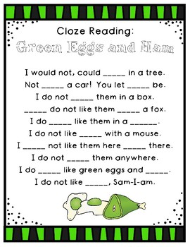 Cloze Reading Passage For Dr Seuss Green Eggs And Ham