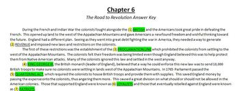 Cloze Reading Strategy:  The Road to Revolution Story Quiz